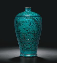 A painted and turquoise-glazed 'Cizhou' vase (meiping), Yuan dynasty