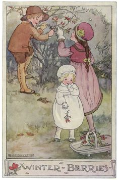 ~Winter Berries~Anne Anderson illustration scanned from 'The Gillyflower Garden Book', c1915