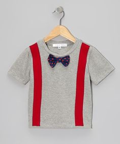 Take a look at the mini scraps Gray & Red Suspenders Tee - Infant, Toddler & Boys on #zulily today!