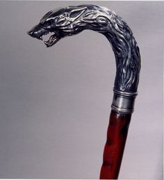 """Steven King's """"Storm of the century"""" sterling silver Wolf cane 