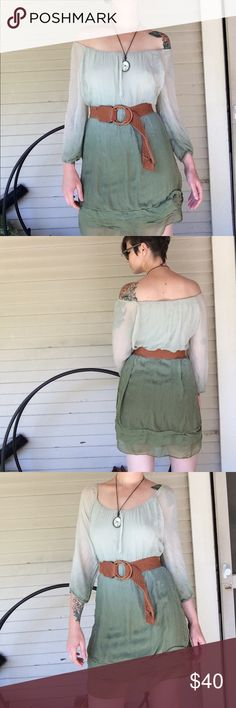 100% silk mint green ombré dress NWOT never worn 100% silk ombré mint and dark green dress.  Super comfy!!! Can be worn on or off shoulder. Very soft viscose lining dress underneath. Made in Italy. prontomoda giusy Dresses Mini