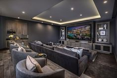 Coral Ridge - Redecorating - - Home Theater Rooms Home Theater Basement, Basement Movie Room, Home Theater Room Design, Home Cinema Room, At Home Movie Theater, Home Theater Rooms, Basement Ideas, Basement Bars, Basement Remodeling