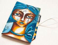 Fabric Journal Cover with painting face and free motion stitching Workshop by Lidija Miklavcic - iCreateFlix.com