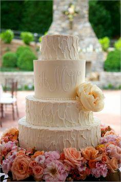 elegant white wedding cake