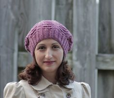 Knit Slouch cap - Slouchy silhouette Dark rose heather color