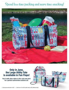 AVAILABLE ONLY 4 MORE DAYS! Get the large utility in fun flops this June only! For every $35 spent in June, get a large utility tote for $10!!!