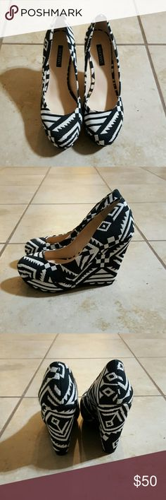 Black and White Aztec Print Wedge Shoes Beautiful and never worn Shoemint Black and White Aztec Print Wedges. They are very comfortable! Shoemint Shoes Wedges