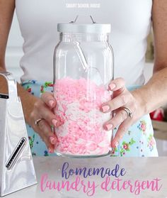 The BEST 3 ingredient homemade laundry detergent recipe! All natural. Less than 15 cents per load. HE washer safe. Add this fragrance to make clothes smell beautiful for weeks!