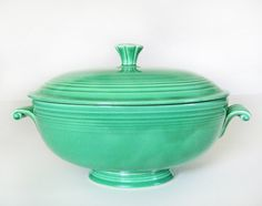 Fiesta ware casserole dish in original green, vintage Homer Laughlin light green lidded bowl, c.1940s art deco dinnerware, wedding gift. $90.00, via Etsy.