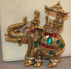 RARE Hattie Carnegie Book Piece Jeweled Figural Elephant w/Howdah &Cabachons