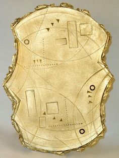 """Pottery by Lena Arice Lucas: ANCIENT IMPRESSIONS 4 hand-built slab pottery, acrylic on stoneware clay plaque for wall or table stand, 12"""" wide"""