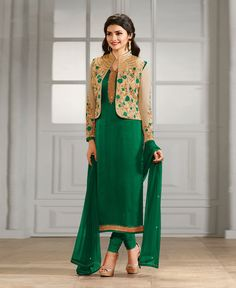 Prachi Desai Green Georgette Churidar Suit 78473