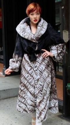 Ranch Mink Fur Coat with White Tiger Design Trim