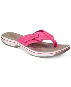 8fd690ab5a8 Clarks Collection Women s Brinkley Bree Flip-Flops - Pink 9M Clarks Sandals