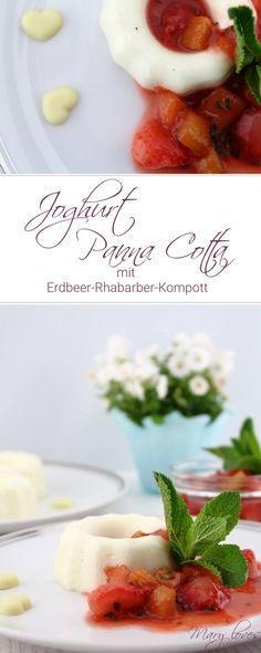 Joghurt Panna Cotta mit Erdbeer-Rhabarer-Kompott - Rezepte mit Rhabarber und Erdbeeren - Panna Cotta mit Joghurt - Rhabarber und Erdbeeren als Kompott - Panna Cotta und Kompott als Nachtisch