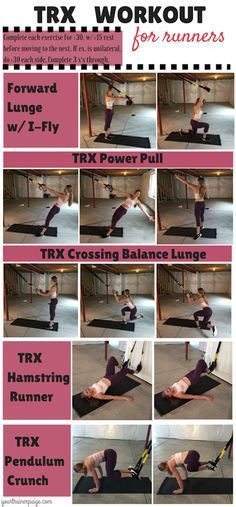 TRX Workout for Runners - click for details on exercises to work your abs and legs