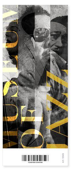 "MUSEUM OF JAZZ by Kasia Dybek, via Behance // text placement & ""quartered"" image columns"