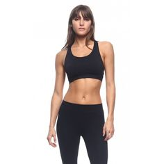 Seamless Racerback Sports Bra in Black ($13) ❤ liked on Polyvore featuring activewear, sports bras, athletic sportswear, racer back sports bra, seamless sports bra and racerback sports bra