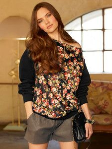 burda style: Damen - Shirts & Tops - Langarm-Shirts - Sweatshirt - U-Boot-Ausschnitt