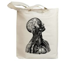 Neck Muscles Anatomy Vintage Eco Friendly Canvas Tote Bag (id5511). $17,95, via Etsy.