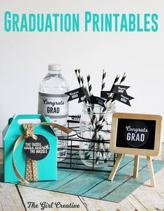 Graduation party printables - free! This graduation party kit is loaded with table signs, cupcake toppers, tags, drink flags, water bottle labels and banner. Comes in handy for any size graduation party - plenty of ideas and different ways to use each printable.