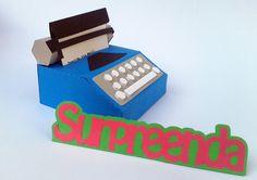 Caixa Convite Maquina de Escrever Snoopy