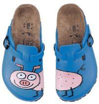 Birkis clogs Woodby from Birko-Flor in Pig Blue Background with a narrow insole