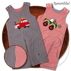 LOVE IT. Two outfits in one, bright navy and red gingham, monster trucks and fire trucks, warm long pants - how could these longalls not win you over??