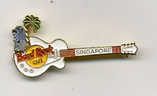 Hard Rock Cafe Singapore Merlion with Palm Tree White Guitar Pin