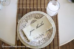 Love this Thanksgiving place setting from LemonadeMakinMama