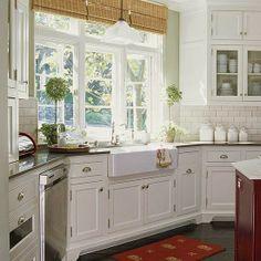 Farmhouse sink & subway tile backsplash - White Ironstone Cottage