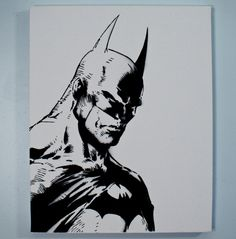 Batman Art  Black and White Spray Paint from by Dylancommadash, $60.00