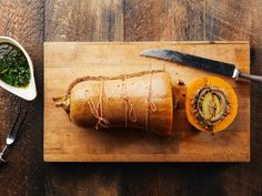 This vegetarian Thanksgiving main course—an homage to turducken—is an eggplant- and zucchini-filled butternut squash with a cheesy mushroom stuffing.