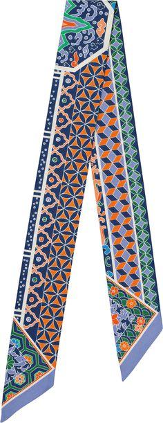 15AW   Collections Imperiales Hermès silk twilly, 32'' x 2'' (100% silk)   Catherine Baschet   Ref. : H062942S 09 lavender/blue/orange   $160