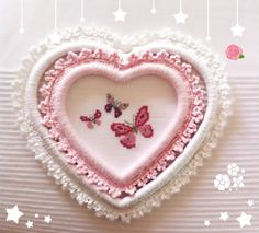Cross stitch butterflay Crochet heart