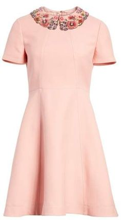 Valentino Embellished Collar A-Line Dress