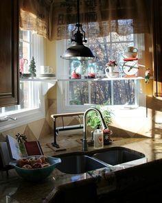 "Mason jar vignettes for kitchen window - tiny trees, Epsom salt ""snow"""