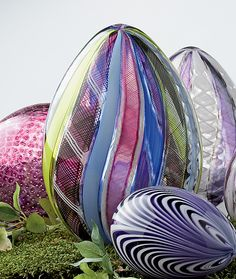 """Multicolor Spring Cane Egg""  Art Glass Sculpture  Created by Paul Lockwood"