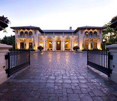 Glamorous Villa Design with Italian Style: Beautiful Mediterranean Exterior Italiannate Villa Iron Gate Door Ideas Unique House Plans, Dream House Plans, Tuscan Column, Huge Houses, Design Your Own Home, Mediterranean House Plans, Tuscan House, Luxury Homes, Luxury Mansions