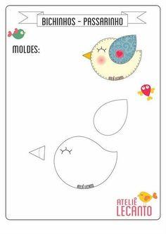 New sewing projects felt quiet books ideas Felt Templates, Applique Templates, Applique Patterns, Sewing Patterns, Bird Template, Bird Applique, Felt Crafts Patterns, Bird Patterns, Sewing Crafts