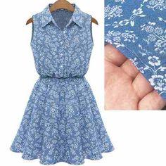 vestido tipo jeans floral                                                                                                                                                                                 Mais