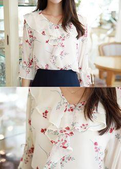 Korean Women`s Fashion Shopping Mall, Styleonme. Chiffon Shirt, Chiffon Ruffle, Chiffon Tops, Ruffle Blouse, Blouse Patterns, Blouse Designs, Fashion Models, Fashion Outfits, Women's Fashion