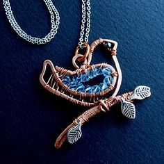Little Bluebird Necklace - close