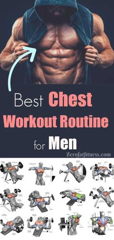 Workout Routine for Men - Best 11 Workouts for Ripped Bigger Chest Chest Workout Routine for Men. Best 11 Workouts for Ripped Bigger ChestChest Workout Routine for Men. Best 11 Workouts for Ripped Bigger Chest Best Chest Workout Routine, Chest Routine, Chest And Back Workout, Good Chest Workouts, Home Chest Workout, Dumbbell Chest Workout, Best Chest Exercises, Back Routine, Home Workout Men