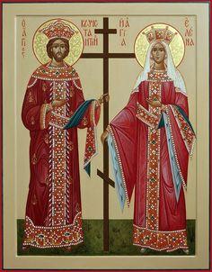 Saints Constantine and Helen Religious Images, Religious Icons, Religious Art, Byzantine Icons, Byzantine Art, St Constantine, Religion, Russian Orthodox, Art Icon