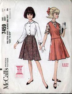 McCalls 7459 Vintage 1960s Teen Pleated Skirt Set Pattern B28