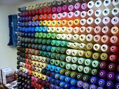 さをり池袋 糸棚 Thread Storage, Thread Organization, Knitting Room, Haberdashery Shop, Machine Embroidery Thread, Sewing Rooms, Clothes Crafts, Shop Interior Design, Thread Crochet