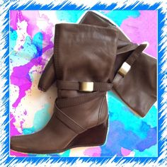 Stuart Weitzman wedge leather boots✨✨✨NEW Host PickSweater Weather 1/2/16 Beautiful leather with gold buckle, grained heel brand new never been worn.  Bought two pairs this has been an extra. Stuart Weitzman Shoes Wedges