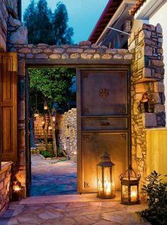 Pelion, Greece [+] via Doors Outdoor Spaces, Outdoor Living, Sweet Home, Traditional Doors, Hacienda Style, Spanish Style, Windows And Doors, Exterior Design, Greece