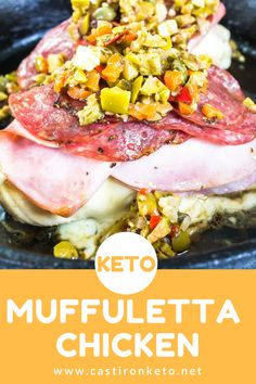 This #Keto Muffuletta Chicken is big on flavor and so super easy straight from the big easy!!! Best of all It's all baked up in a single cast iron skillet with delicious bubbly cheese and briny olives.  RECIPE >>> https://www.castironketo.net/blog/keto-muffuletta-chicken